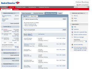 Bank of America Bill Pay Screen