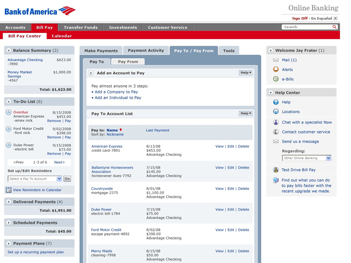 bank of america payment online